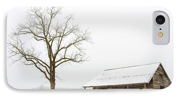 Winter Storm On The Farm IPhone Case by George Randy Bass