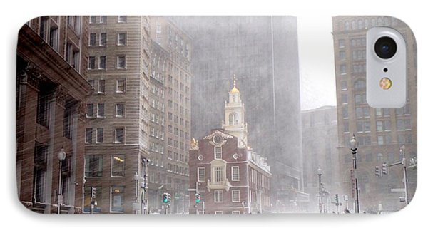 Winter Storm Stella Hitting The Boston State Street IPhone Case by Toby McGuire