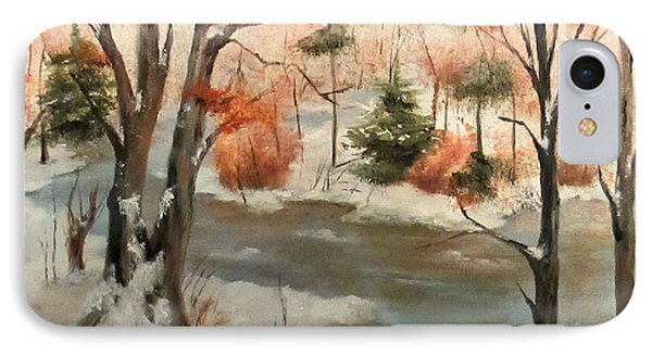 IPhone Case featuring the painting Winter Stream by Roseann Gilmore