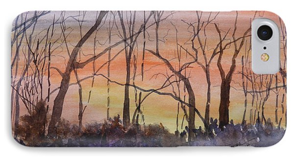 Winter Surprise -a Watercolor Sketch  IPhone Case by Joel Deutsch