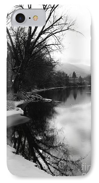 Winter Tree Reflection - Black And White Phone Case by Carol Groenen