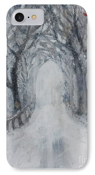 IPhone Case featuring the painting Winter Tree Tunnel by Robin Maria Pedrero