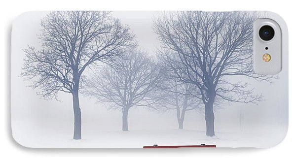 Winter Trees And Bench In Fog Phone Case by Elena Elisseeva