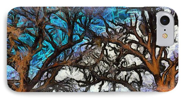 IPhone Case featuring the photograph Winter Trees At Fort Tejon Lebec California Abstract by Floyd Snyder