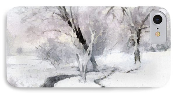 IPhone Case featuring the digital art Winter Trees by Francesa Miller