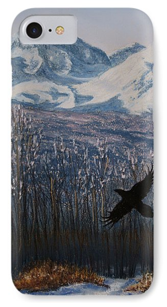 IPhone Case featuring the painting Winter Valley Raven by Stanza Widen