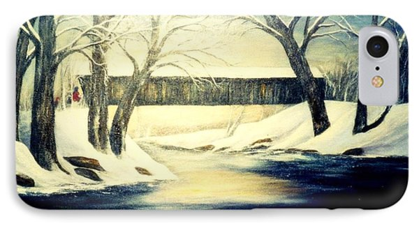 Winter Walk At Bennett's Mill Bridge Phone Case by Gail Kirtz