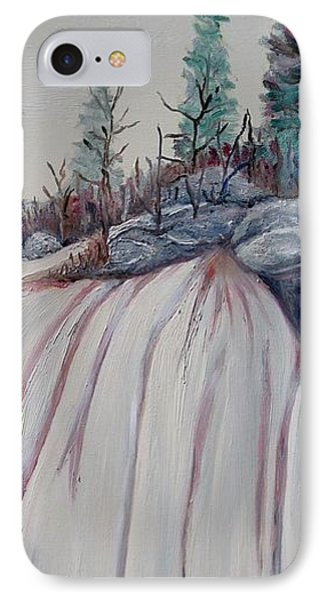 IPhone Case featuring the painting Winter Waterfall by Marilyn  McNish