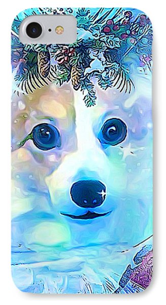 IPhone Case featuring the digital art Winter Welsh Corgi by Kathy Kelly