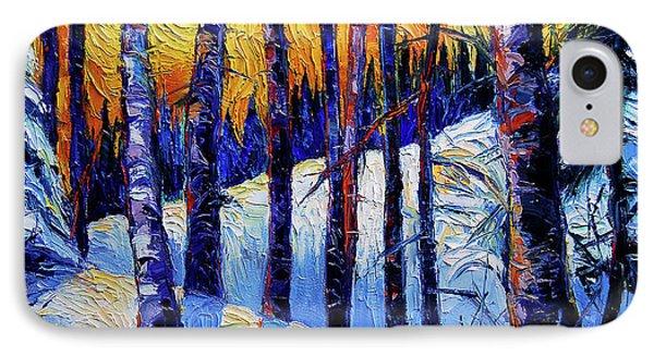 Winter Woodland Sunset IPhone Case by Mona Edulesco