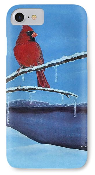IPhone Case featuring the painting Winter's Red by Susan DeLain