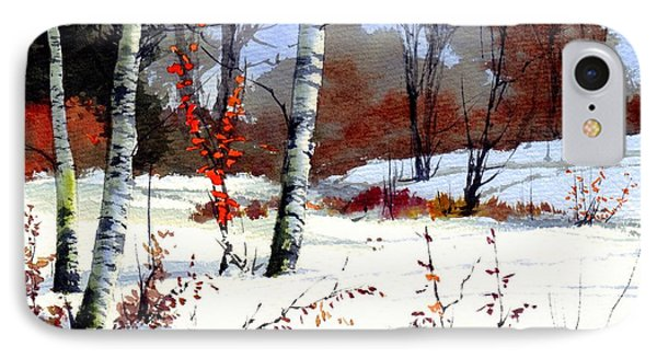 Sparrow iPhone 7 Case - Wintertime Painting by Suzann's Art