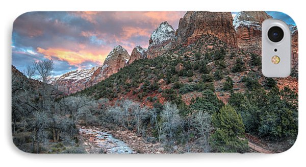 Wintery Sunset At Zion National Park IPhone Case