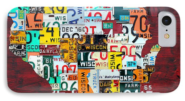 Wisconsin Counties Vintage Recycled License Plate Map Art On Red Barn Wood IPhone Case by Design Turnpike