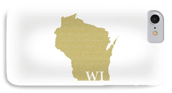 Wisconsin State Map With Text Of Constitution IPhone Case by Design Turnpike
