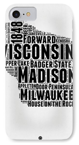 Wisconsin Word Cloud Map 2 IPhone Case by Naxart Studio