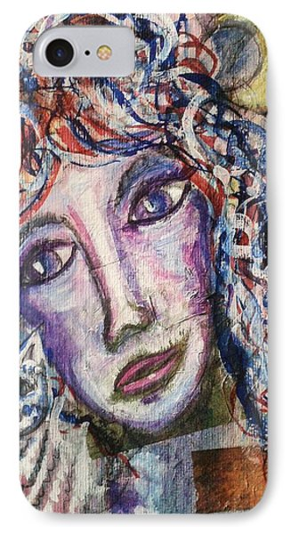 IPhone Case featuring the mixed media Wise Woman And Her Young Familiar by Mimulux patricia no No