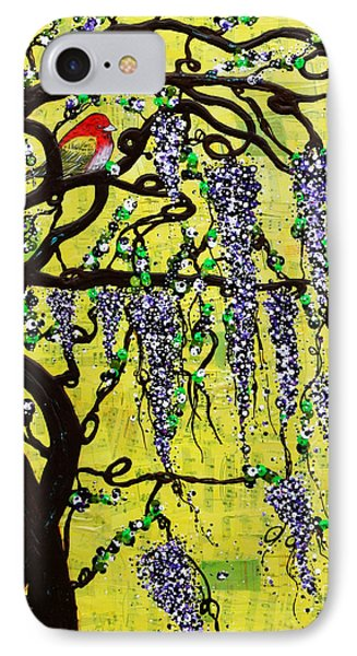 IPhone Case featuring the mixed media Wisteria Joy by Natalie Briney