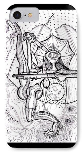 Madonna With A Moonshield N Mossberg With Drum Magazine Original Black And White Pen Art Rune Larsen IPhone Case by Rune Larsen