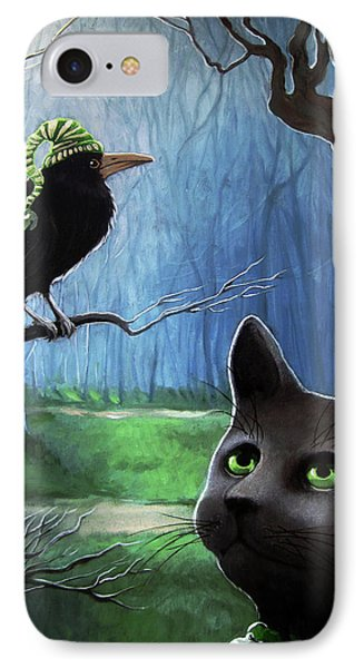 IPhone Case featuring the painting Wit's End - Winter Nightime Forest by Linda Apple