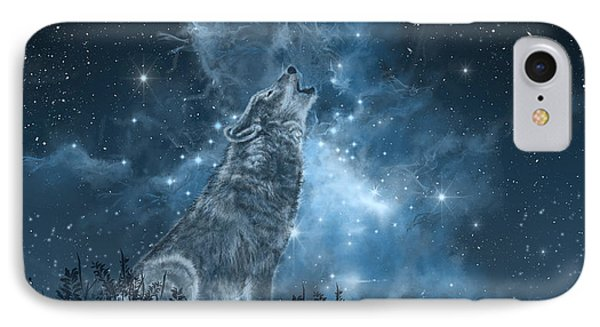Wolf And Sky Blue IPhone Case by Bekim Art
