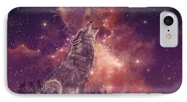 Wolf And Sky Red IPhone Case by Bekim Art