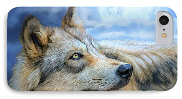 IPhone Case featuring the mixed media Wolf Glow by Carol Cavalaris