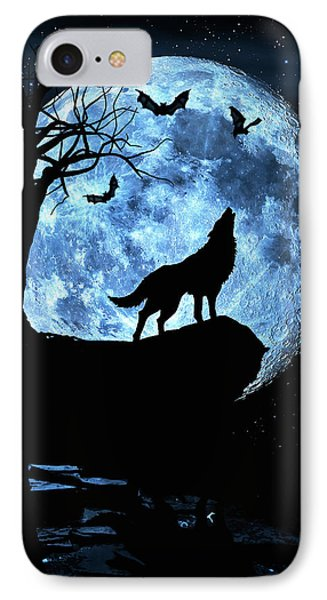 Wolf Howling At Full Moon With Bats IPhone Case by Justin Kelefas