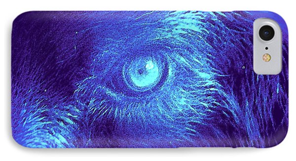 IPhone Case featuring the painting Wolf In Blue by David Mckinney
