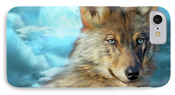 IPhone Case featuring the mixed media Wolf In Moonlight 2 by Carol Cavalaris