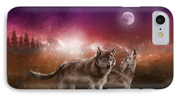 Wolf In The Moonlight Red IPhone Case by Bekim Art