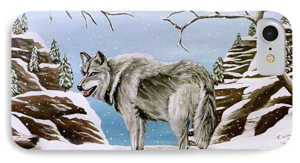 IPhone Case featuring the painting Wolf In Winter by Teresa Wing