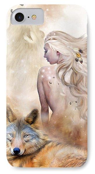 Wolf Moon Goddess IPhone Case by Carol Cavalaris