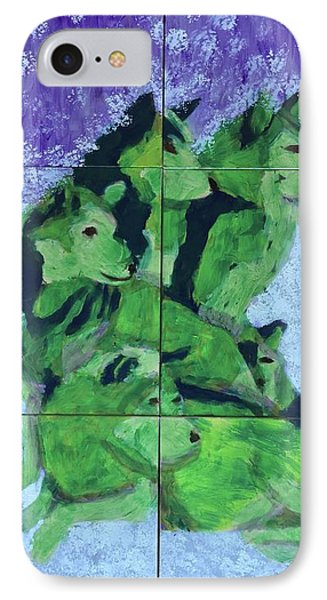 IPhone Case featuring the painting Green Pack Of Wolves by Donald J Ryker III