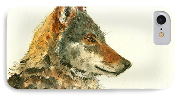 Wolf Watercolor IPhone Case by Juan  Bosco