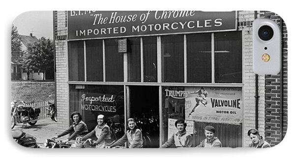 The Motor Maids Of America Outside The Shop They Used As Their Headquarters, 1950. IPhone Case by Lawrence Christopher