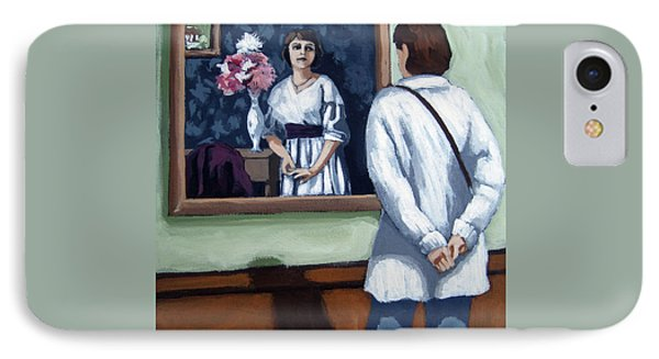 IPhone Case featuring the painting Woman At Art Museum Figurative Painting by Linda Apple