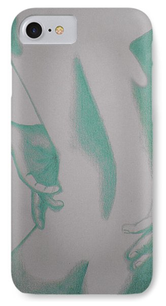 IPhone Case featuring the drawing Woman Back Green by Fanny Diaz