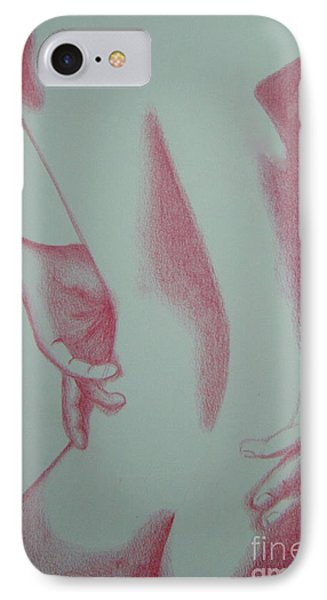 IPhone Case featuring the drawing Woman Back Red by Fanny Diaz