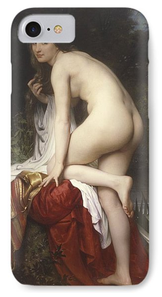 Woman Bathing IPhone Case by  William Adolphe Bouguereau