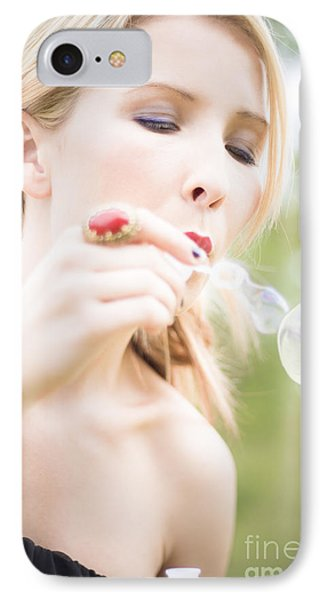 Woman Blowing Bubbles IPhone Case by Jorgo Photography - Wall Art Gallery
