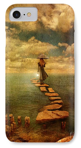 Woman Crossing The Sea On Stepping Stones Phone Case by Jill Battaglia