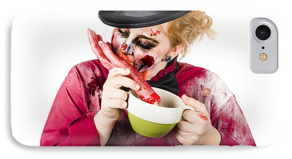 Woman Eating Bloody Hand IPhone Case by Jorgo Photography - Wall Art Gallery