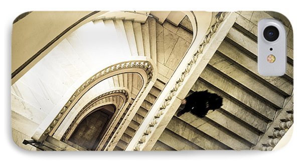 Woman Going Down At Staircase IPhone Case by Perry Van Munster