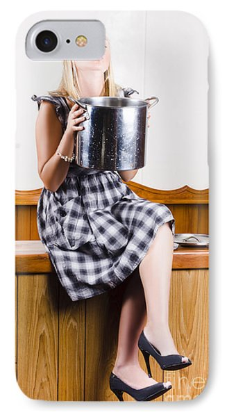 Woman Holding Hot Cooking Pot In Kitchen IPhone Case by Jorgo Photography - Wall Art Gallery
