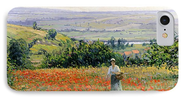 Woman In A Poppy Field Phone Case by Leon Giran Max