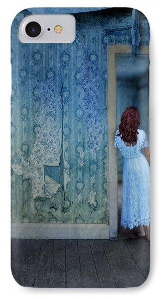 Woman In Abandoned House Phone Case by Jill Battaglia