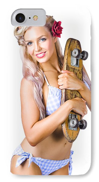 Woman In Bikini Holding Skateboard IPhone Case by Jorgo Photography - Wall Art Gallery