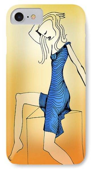 IPhone Case featuring the drawing Woman In Blue Dress by Keith A Link