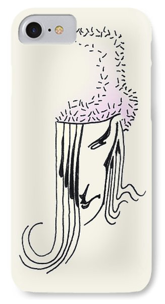 IPhone Case featuring the drawing Woman In Faux Fur Hat by Keith A Link
